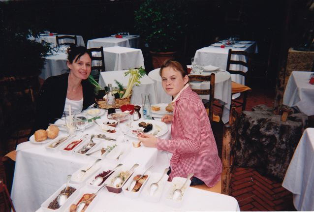 augie and I eating fabulous food in I think the south of france