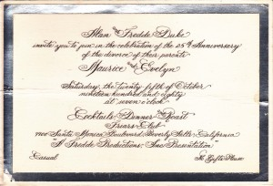 Invitation to Duke and Evie's 25th Divorce Anniversary Party