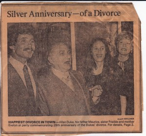 Story about my parents 25th Divorce Anniversary Party made it into the Los Angeles Times