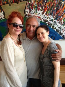 Donna, Billy, me at lunch in the village.