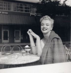 Marilyn eating ice cream at Wil Wrights on South Beverly Drive