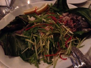 Fish wrapped in cabbage leaves at Wright Bros Soho Oyster House