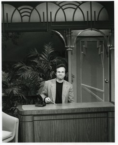My husband sitting at Johnny Carson's desk.  Photo courtesy of Michael Barrie