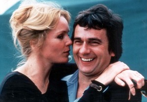 Dudley Moore and Tuesday Weld. British comedian Dudley Moore from Dagenham has loved and lost, loved and lost, loved and lost, loved and lost: four weddings, three divorces and all too many tall blondes. Now, at 60, he's at last worked out where he went wrong. People were wispering about Moores' private life, and the way he seemed to be perpetually marching towards the divorce courts, breaking up with a string of exceedingly tall, exceedingly attractive wives such as Suzy Kendall (1968-72), Tuesday Weld (1975-80), and the model Brogan Lane (1988-90), while also living for a spell in between Ms Weld andn Ms Lane with the exceedingly tall, exceedingly attractive Susan Anton. 'Marriage is an institution that I seem to be drawn to,' Moore admits with a sardonic smile. 'There is obviously something in me that seems to want to be married. And I do think that Nicky is alot nicer than my other wives. But . I'm starting to wonder if arranged marriages might just be best. You know, I actually do think that a chap has as good a chance of meeting a reasonably nice girl if the marriage is fixed than if he's out playing the field.'