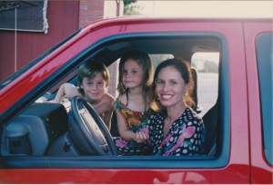 me in red mini van with augie and oliver